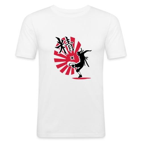 HACK NINJA (weiss/rot-schwarz) - Männer Slim Fit T-Shirt
