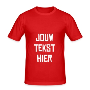 Dames en heren T-shirt met jouw tekst - slim fit T-shirt