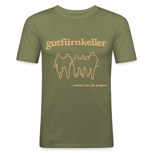 Leibchen H tailliert Druck sandfarben - Männer Slim Fit T-Shirt