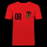 T-Shirts ~ Männer Slim Fit T-Shirt ~ FUßBALLKAISER 08 (Gold-Schwarz)