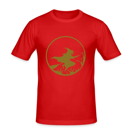 T-Shirt Besenhexe weinrot/gold - Männer Slim Fit T-Shirt