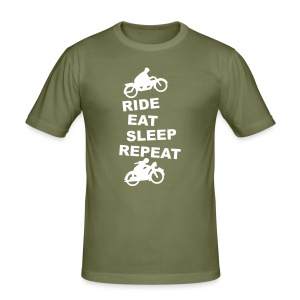 Ride Eat Sleep Repeat white - Männer Slim Fit T-Shirt