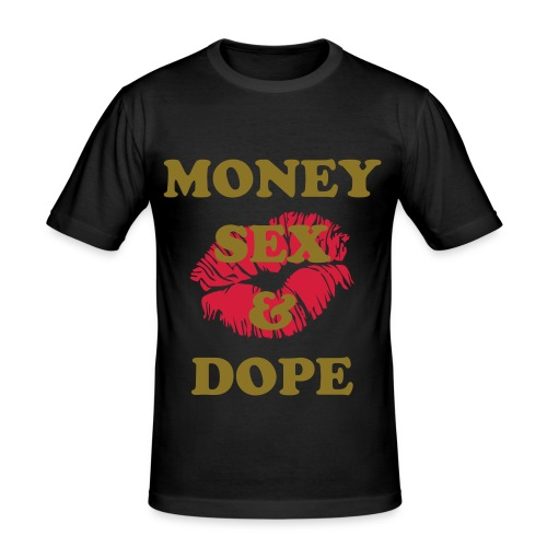 Money Sex & Dope black and gold - Maglietta aderente da uomo