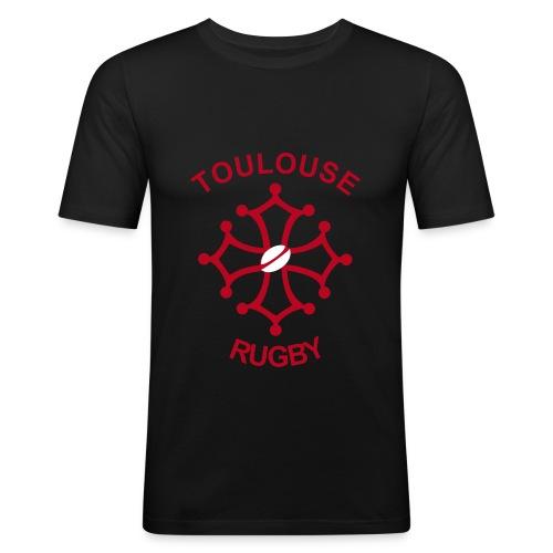 T-shirt près du corps noir Toulouse Rugby - T-shirt près du corps Homme