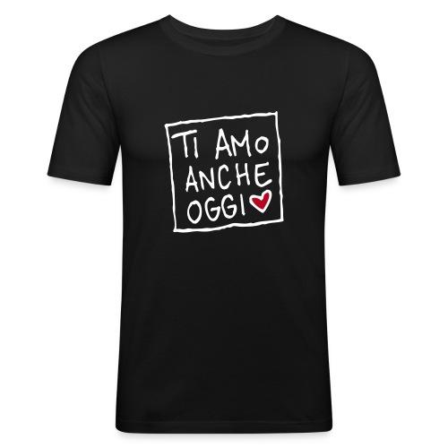 Maglietta aderente da uomo - T-sHeart uomo nero stampa floccata fronte-retro