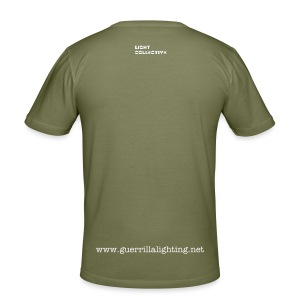 Guerrilla Lighting - white on olive - mens slim fit - Men's Slim Fit T-Shirt