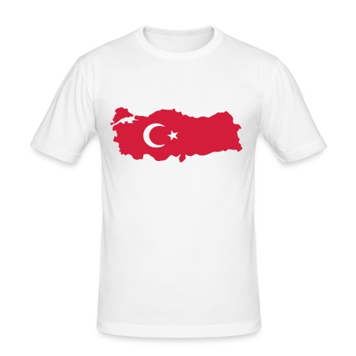 Slim Fit Turkey Map and Flag Top - Men's Slim Fit T-Shirt