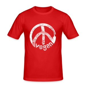 Mens 'vegan peace' - Männer Slim Fit T-Shirt