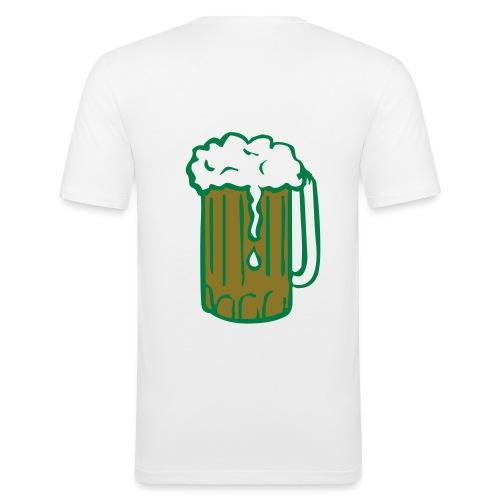 Hvit herre t-shirt med rå party stil - Slim Fit T-skjorte for menn