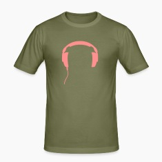 Army green Headphones DJ club party music techno Men's T-Shirts