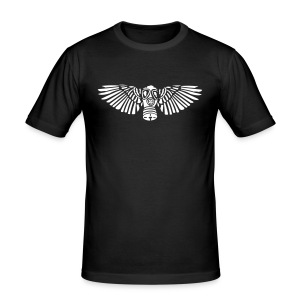 Männer Slim Fit T-Shirt - banner,cyber,emblem,flügel,gas,gasmaske,industrial,mask,metal,wings