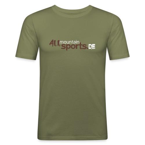 T-Shirt ALLmountainSPORTS.de braun/weiss - Männer Slim Fit T-Shirt