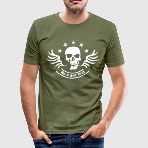 Olive rock_and_roll_skull_1c T-Shirts - Männer Slim Fit T-Shirt