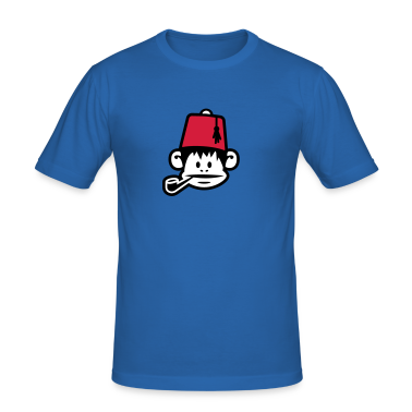 Royal blue monkey fez ape primat affe pipe smoker Men's T-Shirts