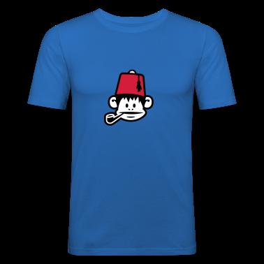 Royal blue monkey fez ape primat affe pipe smoker Men's T-Shirts