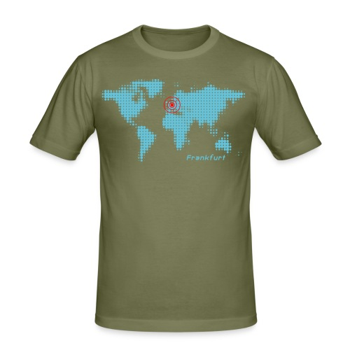 Frankfurt Weltkarte T-Shirt - Männer Slim Fit T-Shirt