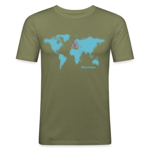 München Weltkarte T-Shirt - Männer Slim Fit T-Shirt