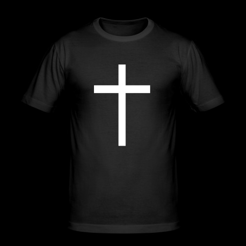 Weisses Kreuz T-Shirt - Männer Slim Fit T-Shirt