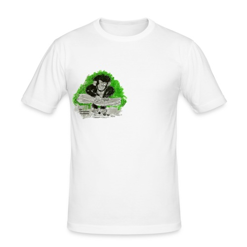 Chimpanzee nut cracking Men's Slim Fit T-Shirt - Men's Slim Fit T-Shirt