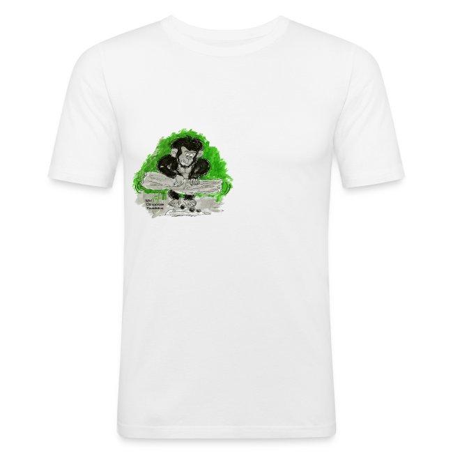 Chimpanzee nut cracking Men's Slim Fit T-Shirt