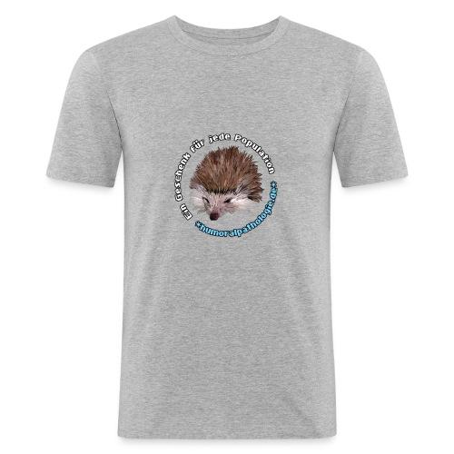Graues Shirt mit blauer Schrift (slim) - Männer Slim Fit T-Shirt