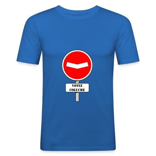 Panneau sens interdit Votez Coluche - T-shirt près du corps Homme