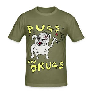 Mens Pugs on Drugs Slim Fit - Men's Slim Fit T-Shirt