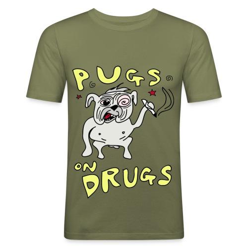 Mens Pugs on Drugs Slim Fit - Men's Slim Fit T-Shirt