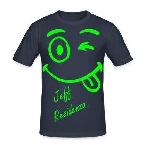 Men Slimfit: Jeff Residenza - Just kidding Smiley (neon lime) - slim fit T-shirt