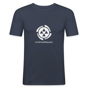Android Muziq - Light Grey logo on Dark Navy - Men's Slim Fit T-Shirt