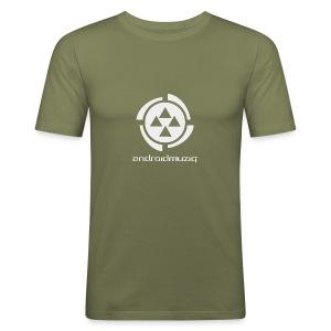 Android Muziq - Light Grey logo on Brown - Men's Slim Fit T-Shirt