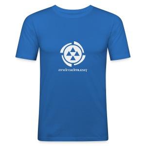 Android Muziq - Light Grey logo on Blue - Men's Slim Fit T-Shirt