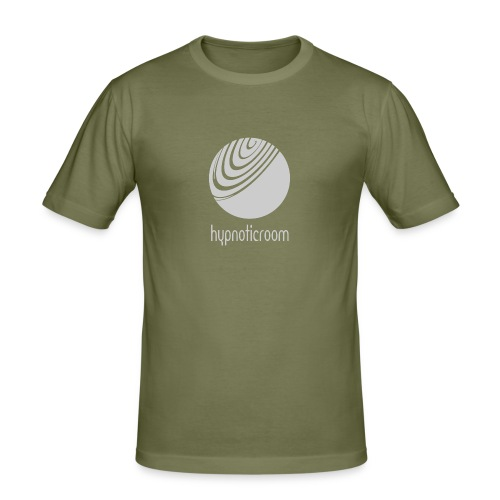Hypnotic Room - Light Grey logo on Brown - Men's Slim Fit T-Shirt