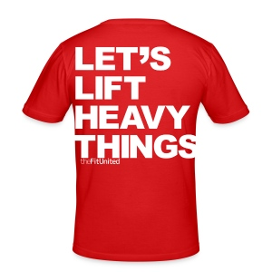 Lets Lift Heavy Things - White - Men's Slim Fit T-Shirt