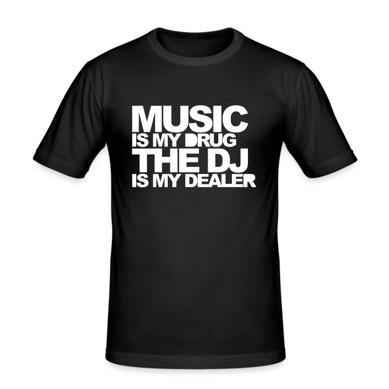 Music Is My Drug - Slim Fit - Men (Black) - Men's Slim Fit T-Shirt