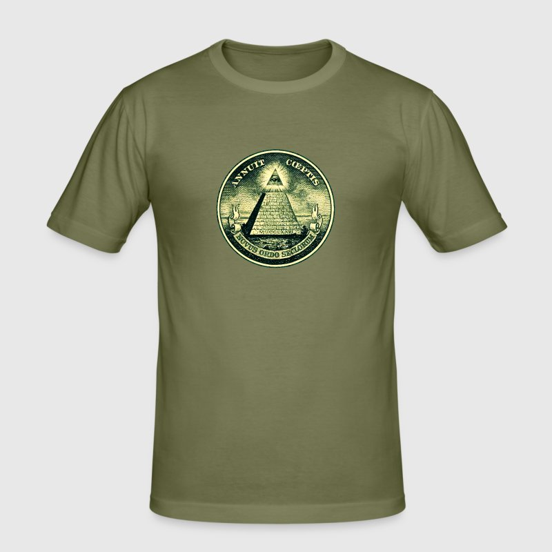All seeing eye, pyramid, dollar, freemason, god T-shirts - Herre Slim Fit T-Shirt