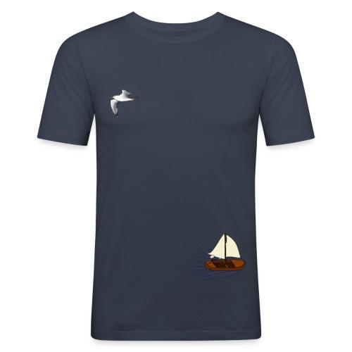 Blauw landschapsshirt - Slim fit - slim fit T-shirt