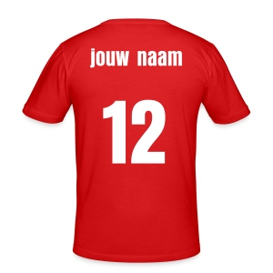 Jouw tekst of naam en nummer - slim fit T-shirt