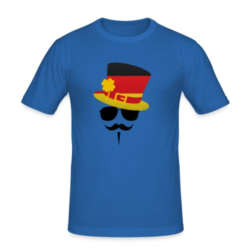 Slim Fit T-Shirt 'Germany Go Moustache' - Männer Slim Fit T-Shirt