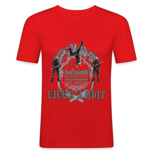 Lifes a -RaeRay-Riot! - Men's Slim Fit T-Shirt