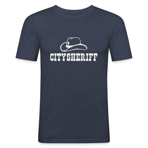 Citysheriff Westernschrift T-Shirt - Männer Slim Fit T-Shirt