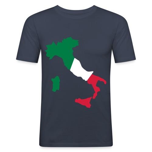 T-Shirt Slim Fit con immagine Penisola Italiana scritta Forza Azzurri sul retro - Maglietta aderente da uomo