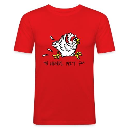A Hendl mit leiwü fia dBurschn Orange - Männer Slim Fit T-Shirt