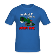 T-Shirts ~ Men's Slim Fit T-Shirt ~ I'm BUILT Like A MURDER TANK!
