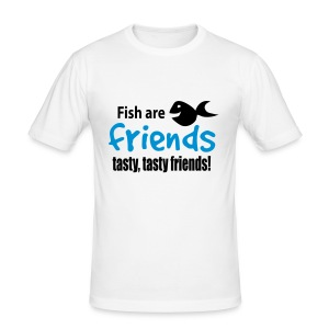 Fish are friends - tasty friends! - Slim Fit T-skjorte for menn
