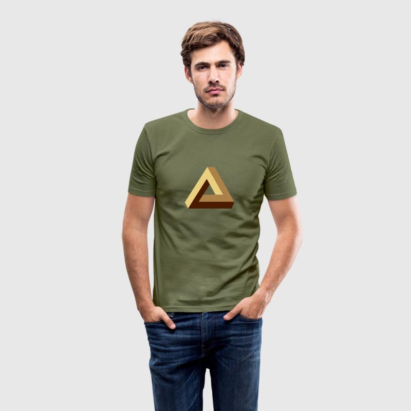 Impossible Triangle, optical illusion, Escher, tri T-Shirts - Männer Slim Fit T-Shirt