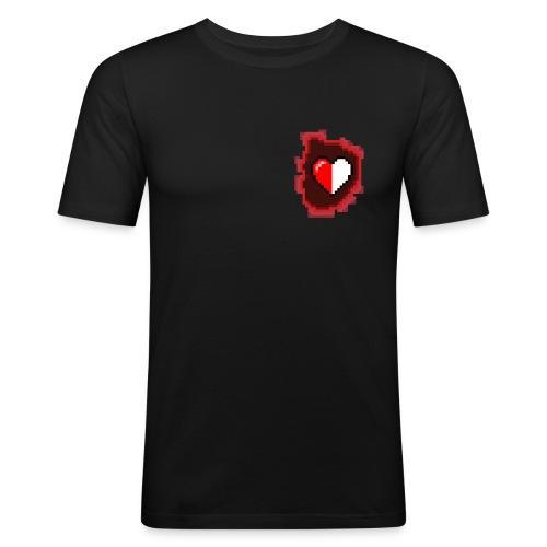 Pixel-Heart Black - Herre Slim Fit T-Shirt
