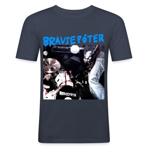 Brausepöter blaue Schrift - Männer Slim Fit T-Shirt