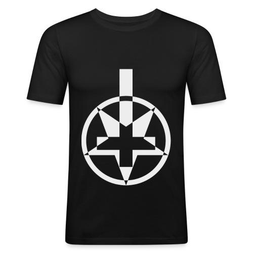 Religion? F.u! Figurbetonend - Männer Slim Fit T-Shirt