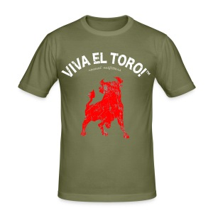 Viva El Toro! Classic    Toro Rosso on khaki - Men's Slim Fit T-Shirt